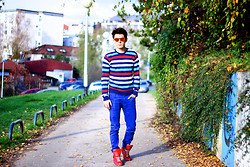 Peter C. - Oakley Mirrored Shades, H&M Striped Sweater, H&M Electric Blue Pants, Maison Martin Margiela Red Sneakers - C.O.L.O.R.S.