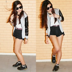 Fel Chen - Mitch And Marc Watch, Flea Silver Choker, Thrifted White Basic Tube, Thrifted Duo Tone Leather Faux Baseball Jacket, Thrifted Plain Shades, Bangkok Weaved Belt, Diy Black Denim Highwaist, Flea Leopard Socks, Plain Low Cut Black Boots - Shine For Yourself