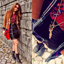 B @Style Voyage - Asos Sunglasses, Zalora Red Tartan Shirt, Navy Green Tartan Shirt, K First Brown Blazer, Style Above Black Skirt, Cambride Satchel Bag, Aldo Mid Boots, Platinum Fashion Mall, Thailand Bicycle Necklace - Tartan on Tartan