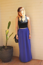 Emmy Leelahlou - Topshop Cropped Polo, Supre Blue Maxi Skirt - Genie