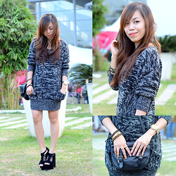 Kat M - Forever 21 Sweater Dress, Happyboon Arm Candies - Marble