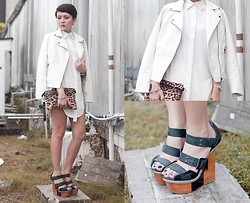 Kookie B. - White Leather Jacket, Finsk Wedges, Studded Leopard Print Clutch, Romwe White Long Shirt - White Riot