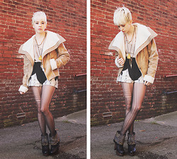 Kat W. - Tj Maxx Faux Shearling Coat, Borrowed Knit Sweater, Sugarlips Apparel Uncommon Beings Shorts, Jcpenny + Diy Destroyed Tights, Sam Edelman Wickley Studded Clogs, Vanessa Mooney Short + Long Necklace, Salem, Ma Medicine Pouch Necklace - Uncommon Beings