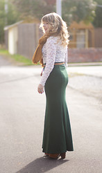 Ashley D. - Modcloth Green Maxi Skirt, Thrifted Lace Top, Modcloth Mustard Scarft, Seychelles Tan Boots - Cedar ave