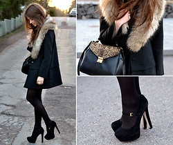Marianna M - Zara Bag, H&M Faux Fur Collar, Topshop Heels - This time last year