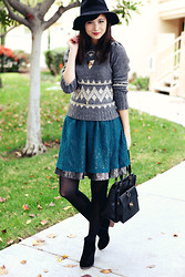 Chesley Tolentino - Free People Dress, Zara Sweater, Dolce Vita Booties - Hint of Glitter