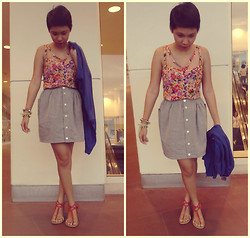 Christelle Mae Dacalus - Topshop Floral Midrib Corset, Bazaar Gray Skirt, Black Sheep Blue Cardigan, Payless Strappy Coral Sandals - Coral & Lavender