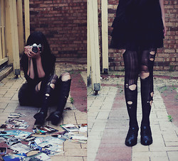 Amanda Mabel - Diy Ripped Tights, Black Oxford Heels, Black Tutu Skirt, Canon Ae 1 Program Camera - Keep Calm and Be a Rebel