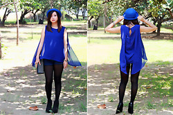 Novarinna Tan - New Look High Waist, Pedro Studded Clutch, New Look Boots, Women Airlines Flare Top - Blue Radiance