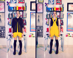 Daniela Nutz - Forever 21 Sheer Black Blouse, Hector Omar Yellow Jumper Romper, Forever 21 Black Thigh High Socks, Urban Outfitters Black Ankle High Boots, Valija Gitana Black Mesh Crop Top - Another way