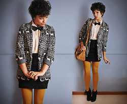 Sophia Mayrhofer - Threadsence Reindeer Blazer, Opitz Outlet Silk Blouse, Forever 21 Lace Skirt, Thrifted Men's Bow Tie, La Petite Maroquinerie Leather Satchel, Frontrowshop Mustard Tights, Thrifted Lace Up Wedges - Reality leaves a lot to the imagination