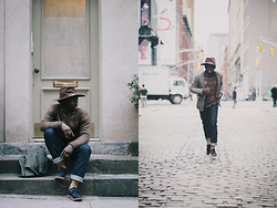 STEVEN ONOJA - Who.A.U Tweed Blazer, Covet Wax Sweater, Ronnie Fieg Shoes, The Unbranded Brand Denim Jeans, Levi's® Shirt, Australia Outback Trading Company, Usa Hat - Fine-looking Thursday