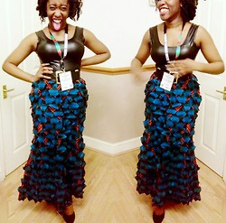 Jennifer Agwunobi - Bootyfurl Blue Feather Skirt, Leather Dress, Gold Buckle Belt, From My Heart Happiness - Leather & Feather.
