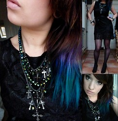 Joosje S - New Look Multi Layer Cross Necklace, Lace Lbd, Zara Black Lace Wedges - Peacock dipdye