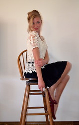 Alexandra H. - Boston Proper Lace Top, Madden Girl Red Heels, Raviya Black Skirt - Laced Up in Style