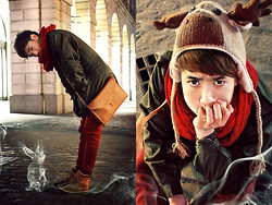 "Dany Nguyễn - Topman Italy Army Jacket, Reindeer Hat, Diy Snood, Lorinza Shoulder Bag&Clutch, H&M Skinny Jeans, Topman ""Shackleton"" Hi Cuff Boots - Christmas & the Rabbit's Spirit"