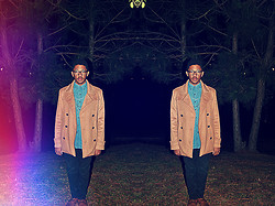 Joseph SB - Forever 21 Camel Coat, Thrift Store Thrifted Denim Shirt, Hawkings Mcgill Brogue Boots, Hawkings Mcgill Black Pants, Asos 4 Chain Necklace - Second Hand News