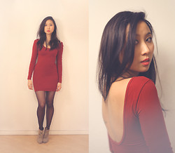 Deyu . - Zara Boots, American Apparel Dress - Christmas Red