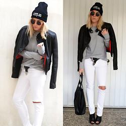 Dena T. - Romwe Sweatshirt, Motel Rocks Suzie Q Faux Leather Moto Jacket In Black, Zara Ripped White Jeans, Zara Wedges - TRUST YOUR GUTS