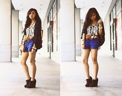 Andie Javelosa - Topshop Knitted Cardigan, Forever 21 Shorts, Forever 21 Woven Belt, Round Sunglasses - Fall Back and Love Eventually