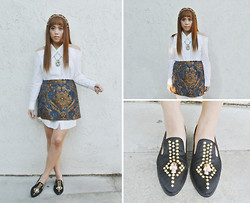 Yuka I. - Funktional Cold Shoulder Shirt Dress, Miracle Eye Baroque Skirt, Grim Slipper - Santa maria
