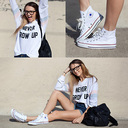 Madeline Becker - Wildfox Couture Never Grow Up Sweater, Bdg Jean Shorts, Converse White, Warby Parker Glasses - Never Grow Up