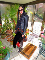 Alice Commando - Bebe Leather Jacket, Second Hand Velvet Maxi - Day Witching