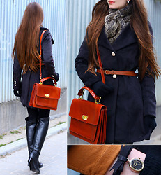 Ariadna Majewska - Black Wool Coat With Belt, Asos Brown Leather Bag, Acord Black Leather Over The Knee Boots, Romwe Brown Belt, Cropp Town Faux Fur Scarf, Accessorize Pendant Black Leather Wrist Watch, Black Tights - Winter, come to me