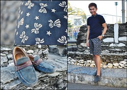 Chris Reyes - Flying Dutchman Shorts, Sperry Topsider Loafers, Folded And Hung Polo Shirt - Ribbons & Stars & December 24th