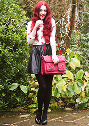 Megan McMinn - Jumper, H&M Faux Leather Skirt, Satchel, H&M Heels - Mistletoe Kisses.