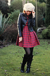 Charlotte Crowley - H&M Leather Jacket, Vintage Tartan Dress, Debenhams Boots, Asos Fur Hat - Furry hat