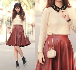 Mayo Wo - Beckybwardrobe Embellished Collar Top, Wagw Faux Leather Burgundy Skirt, Valentino Cap Toe Bow Heels - Winey flouncy