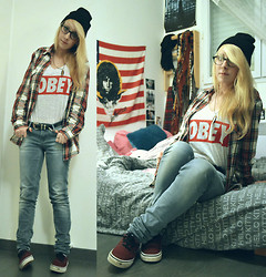 Leslie B. - H&M His Squared Shirt..., Obey Top, H&M Black Beanie, Vans Port Royal, H&M Blue Jeans - Hopelessly devoted to you.