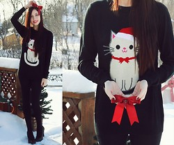 Breanne S. - Asos Cat Sweater - Merry Catmas!