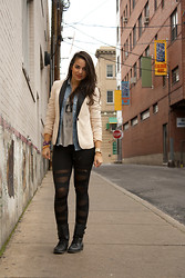 Gergana T. - Denim Shirt, American Eagle Blazer, Ribbon Leggings - Merry Christmas w Love