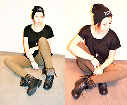 Paula MG - Stylowebuty.Pl Studded Black Military Boots, Hype Nosis Die Beanie, H&M T Shirt, Ranczo Necklace, H&M Leggins - Hope