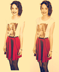 "Holly Marie Halliwell - Miss Selfridges ""Retro"" Kylie Tshirt, New Look Studded Belt, New Look Red Skater Skirt, George At Asda 15 Denier Tights - You better not shout."