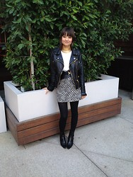 Michelle W - Chanel Vintage Boots, H&M Patterned Skirt - Black & White
