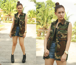 Paulina De Ramos - Strings Manila Camouflage Vest, Topshop Denim Shorts, Jeffrey Campbell Boots, Michael Kors Gold Watch - Bulletproof