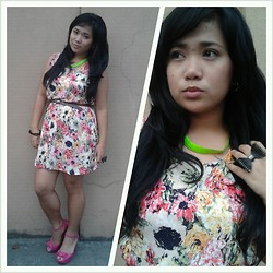 Trixie Manlangit - Kashieca Flowery Dress, Leather Belt, Fashion Market Jelly Shoes, Bloggers United 4 Neon Necklace, Genevieve Gozum Bow Ring - Too feminine with Florals