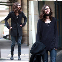 Tony Stone - The Kooples Denim Pants, Vintage Army Boots, Moscot Glasses - Glasses