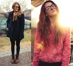 Jessica Christ - Cozbest Rose Sweater, Cozbest Boots, Coat, Zara Zipper Leggings, Zerouv Glasses - It will be a long road