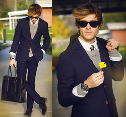 Adam Gallagher - Canvaslandsend Blazer, All Saints Sweater, Armani Exchange Watch, Coach Bag, Zara Boots - Bloom