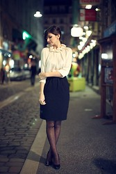 Céline Cavaillero - Claudie Pierlot Shirt, H&M Pencil Skirt, Zara Heels - By night