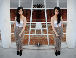 Reese Ungson - Thrifted White Corset, Leopard Maxi Skirt, Mango Black Lace Up Ankle Boots - Runaway