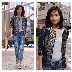 Lana Tiotuyco - Mango Beaded Jacket, Topshop Ripped Jeans, Topshop Wedge Sneakers, Topman Boyfriend Shirt - Glare