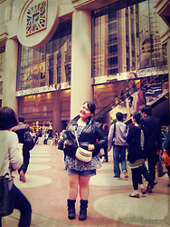 Madel Ching - Baker Winter Boots, Sm Parisian Sling Bag, Debenhams Leather Jacket, Nava Feather Earring, Leopard Chiffon Top, Maurices Denim Shorts - Right Outside Times Square