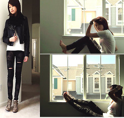 Michelle Pan - Studded Motorcycle Jacket, Pacsun Bleached Jeans, Taupe Suede Ankle Boots - A Corner of Your Heart