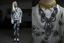 Andre Judd - Rose Print Sweater, Grey Beaded Neckpiece, Gold Choker, Grey Ombre Floral Print Trousers, Floral Print Shades, Two Tone Vintgae Deadstock Laceups - GREY GARDENS