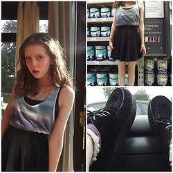 Elisa B - Creepers, Topshop Socks, H&M Top, H&M Black Simple Top, H&M Skater Skirt - Different coloured waves